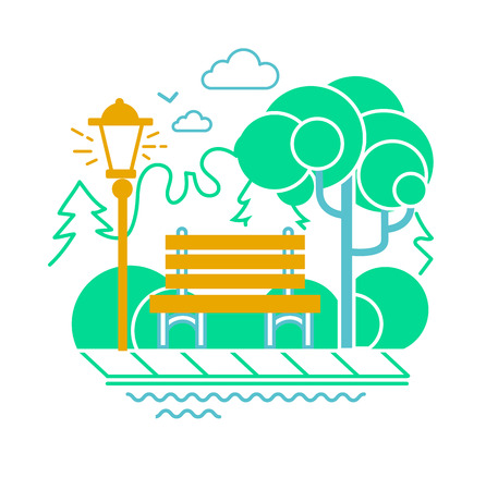 Icon of a calm park with a bench on the background of trees.  Icon in the linear style Illustration