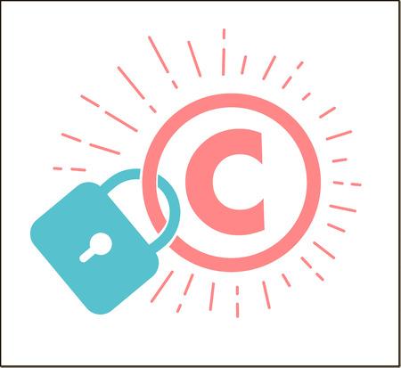 concept de protection du droit d'auteur, propriété intellectuelle sous la forme d'une icône du droit d'auteur sur le château. Icône dans le style linéaire Vecteurs