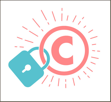 concept of protection of copyright, intellectual property in the form of an icon of copyright on the castle. Icon in the linear style