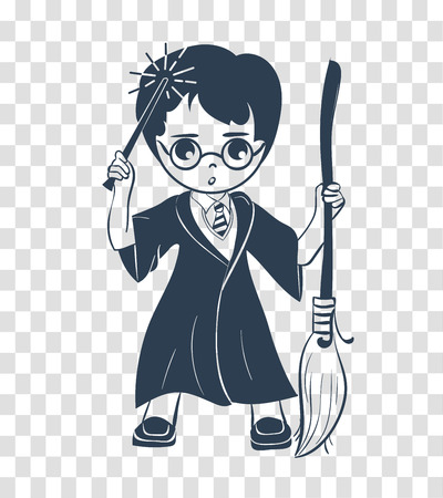 icon of a wizard boy with a magic wand and a broom . silhouette icon in the linear style