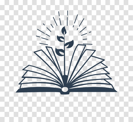 concept of education, the acquisition of knowledge in the school, the institute in the form of a book and a sprout.  education eco . silhouette icon in the linear style.
