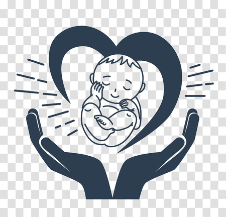 midwifery: Concept of the birth of a child, in the form of a child, hands and heart. silhouette icon  in the linear style