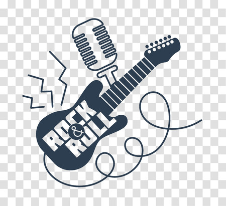 Icon Rock-n-roll Day in the form of electric guitar and microphone. silhouette icon in the linear style