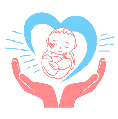 Concept of the birth of a child, in the form of a child, hands and heart. Holiday - International Midwives Day. Icon in the linear style