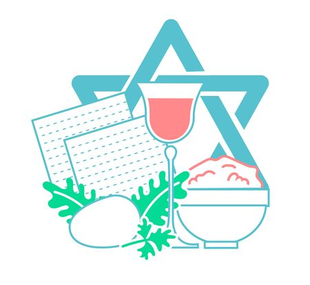 matza: Icon  on the holiday - Pesach. Icon in the linear style