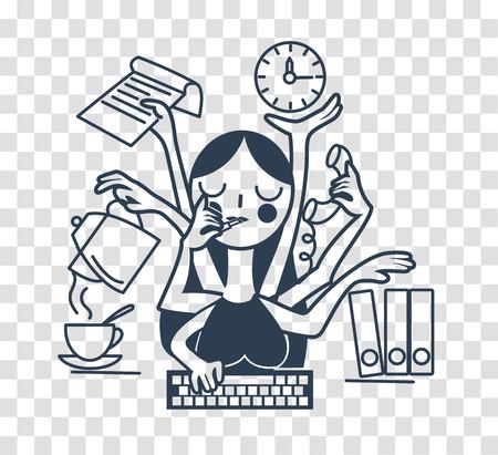 Het concept van de effectiviteit van een vrouwelijke secretaresse op kantoor, in de vorm van vele handen. silhouetpictogram in de lineaire stijl