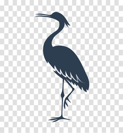 Silhouette heron, icon on white and black background for the logo, sign, symbol