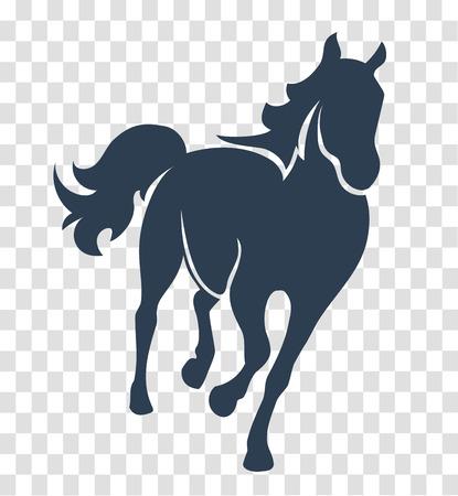 シルエット馬, 白と黒の背景のロゴ、サイン、シンボル 1 行上のアイコン