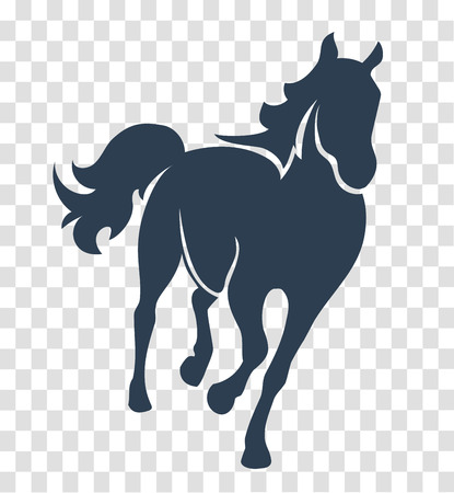 silhouette horse, icon on white and black background one line for the logo, sign, symbol Illustration