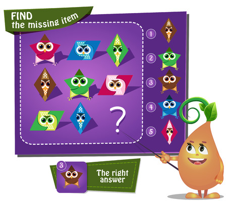 Visual Game for children. Task: find the missing item