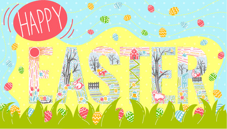 Greeting card with a heavily inscribed happy Easter inscription. Symbols in the inscription  in the form easter traditional symbols collection . Vector drawings Linear style.