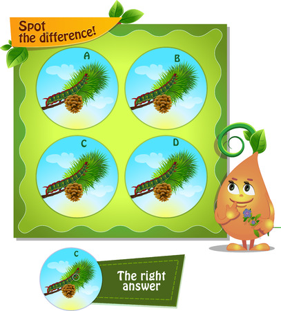 spot the difference: Visual Game for children. Task: Spot the difference caterpillar Illustration