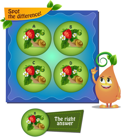 spot the difference: Visual Game for children. Task: Spot the difference snail