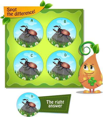 Visueel spel voor kinderen. Taak: Zoek de verschilkever