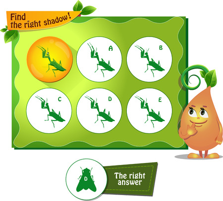 visual game for children and adults. Task the find right shadow mantis