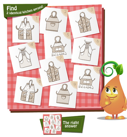 educational material: Visual Game for children. Task: Find 2 identical kitchen aprons