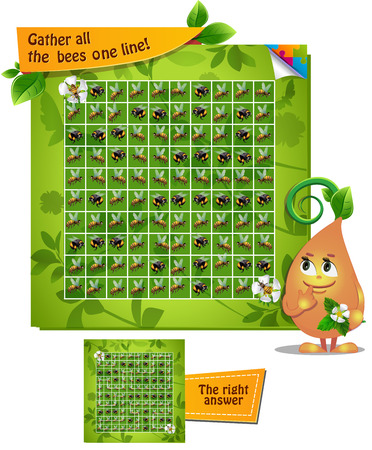guess: Visual Game for children. Task: gather all the  bees one line!