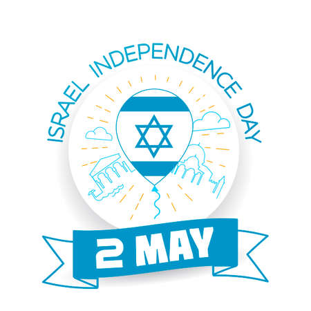 magen: Greeting card Israel Independence Day In the form of a balloon with the flag of Israel in a linear style Illustration