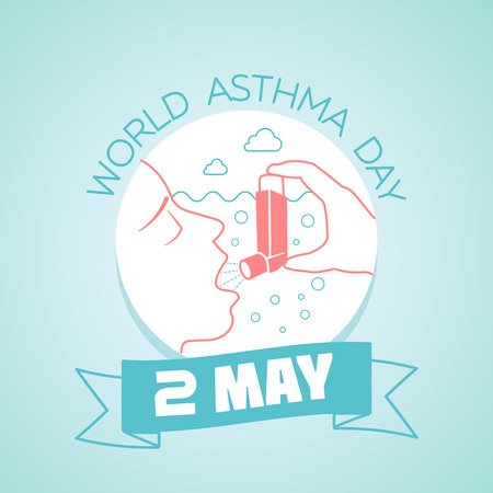 Calendar for each day on may  2 Greeting card. Holiday - world asthma day. Icon in the linear style Illustration