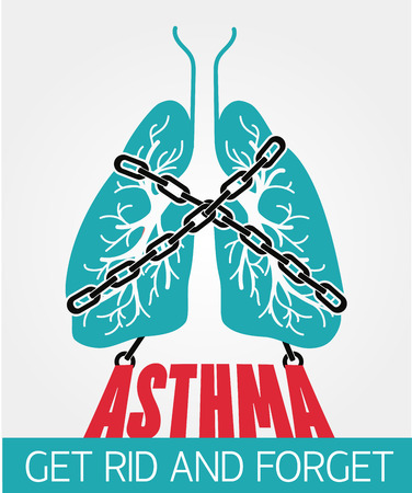concept bronchial asthma, In the form of lungs are chain-bound. Lung symbol abstract banner, flyer design template.