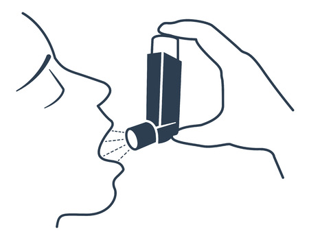 choking: Icon of a patient with bronchial asthma in a linear style. The concept of the disease, in the form of an abstractly choking person in water and a spray aerosol. Black and white illustration