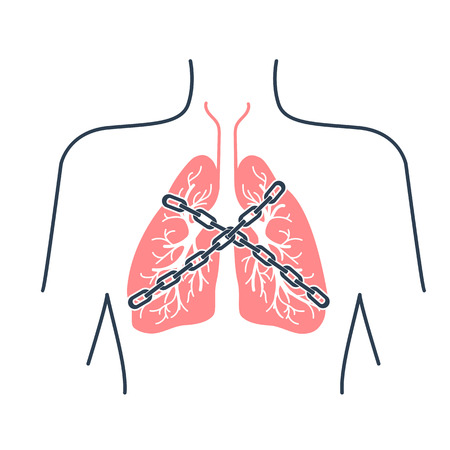 asthma inhaler: Icon of a patient with bronchial asthma in a linear style. The concept of the disease, In the form of lungs are chain-bound