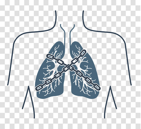 auscultation: Icon of a patient with bronchial asthma in a linear style. The concept of the disease, In the form of lungs are chain-bound