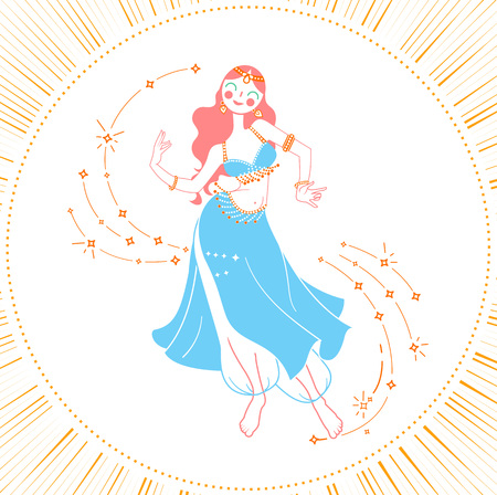 Concept of oriental dance in the form of a dancing woman. Holiday - Belly Dance Day. Icon in the linear style