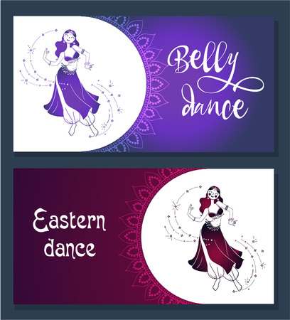 Banner, card for oriental danc,belly Dance Day. Icon in the linear style Vettoriali