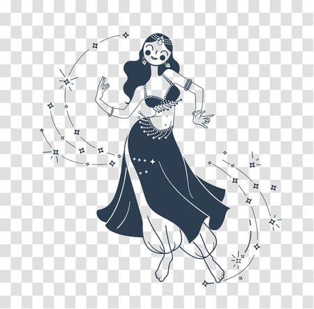 Concept of oriental dance in the form of a dancing woman. silhouette belly Dance Day. Icon in the linear style