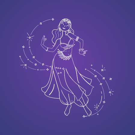 Concept of oriental dance in the form of a dancing woman. Belly Dance Day. Icon in the linear style Stock Vector - 77814374