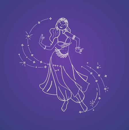 Concepto de danza oriental en la forma de una mujer que baila. Día de la danza del vientre. Icono en el estilo lineal Foto de archivo - 77814374