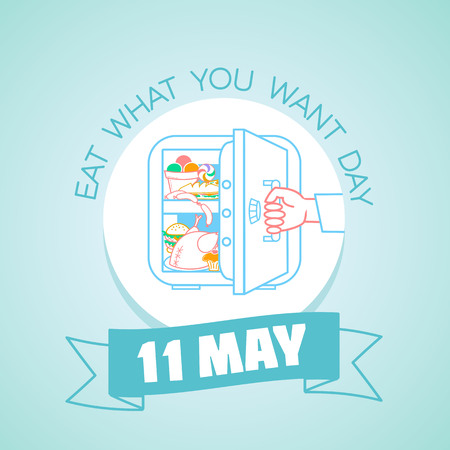 Calendar for each day on may 11. Greeting card. Holiday - Eat What You Want Day. Icon in the linear style