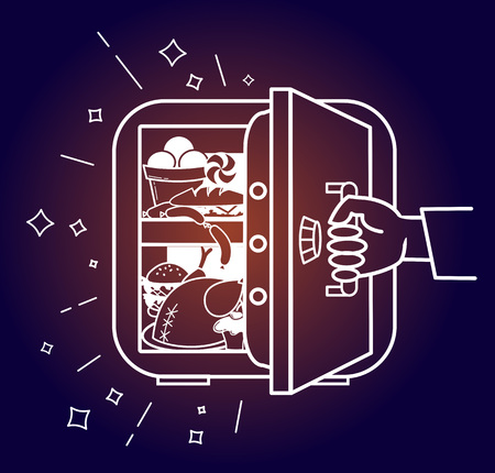 The concept of a diet, in the form of a hand tearing away the safe refrigerator with products, in the form of a symbol of the not to eat harmful products in evenings. Icon in the linear style Illustration