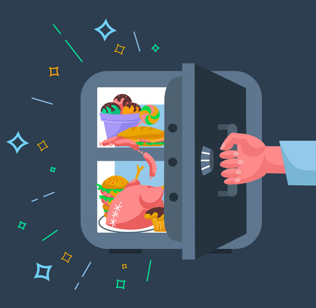 The concept of a diet, in the form of a hand tearing away the safe refrigerator with products, in the form of a symbol of the not to eat harmful products in evenings. Icon in the flat style Illustration