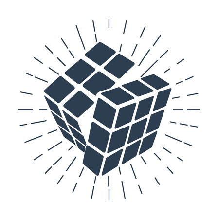Cube Rubiks icon, like a concept, an educational game logo. Icon, silhouette in the linear style