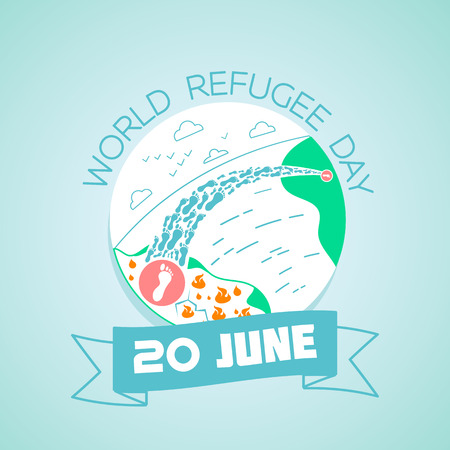 Calendar for each day on june 20. Greeting card. Holiday - world  refugee  day. Icon in the linear style