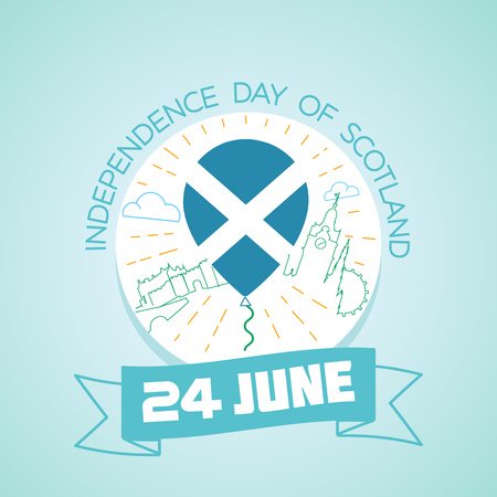independency: Calendar for each day on june 24. Greeting card. Holiday -  Independence Day of Scotland. Icon in the linear style
