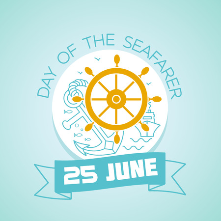 Calendar for each day on june 25. Greeting card. Holiday - Day of the Seafarer. Icon in the linear style