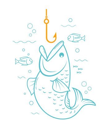 fisheries: concept of fishing in the form of a fishing hook and a fish with an open mouth. Icon in the linear style Illustration