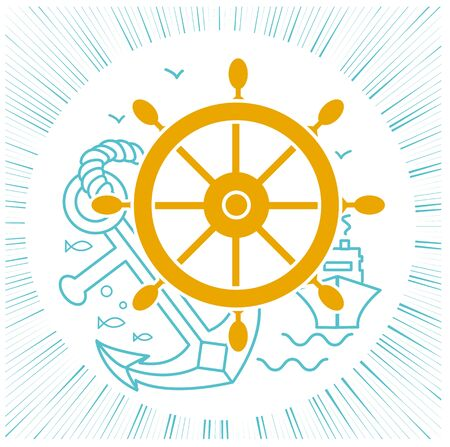 concept of travel, sea cruise in the form of sea rudder, anchor, ship. Icon in the linear style