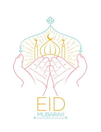 Greeting card - eid mubarak.  Illustration of hands praying namaz (Muslims Prayer) infront of mosque. Icon in the linear style Illustration