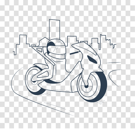 cycle suit: icon motorcycle, motorbike  on the road in the city. Icon in the linear style, black and white silhouette Illustration