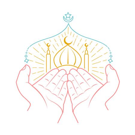 Ikone von den Händen, die namaz (das Gebet des Moslems) vor Moschee beten. Icon im linearen Stil