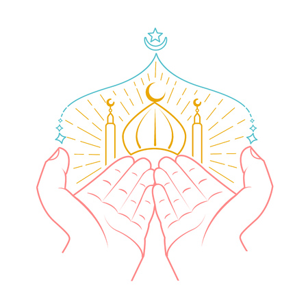 Icon of hands praying namaz (Muslims Prayer) infront of mosque. Icon in the linear style