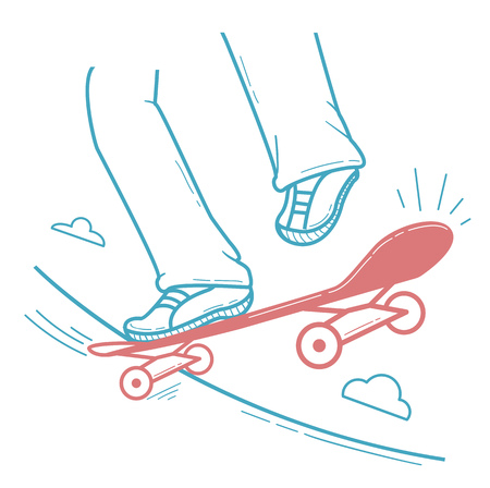 Icon skateboarder doing a jumping trick,  legs riding a skateboard. Icon in the linear style