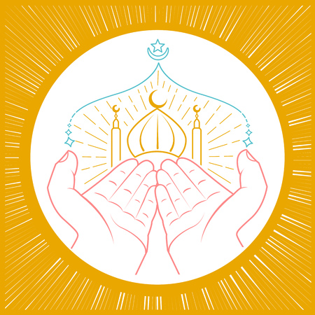 Illustration of hands praying namaz (Muslims Prayer) infront of mosque. Icon in the linear style