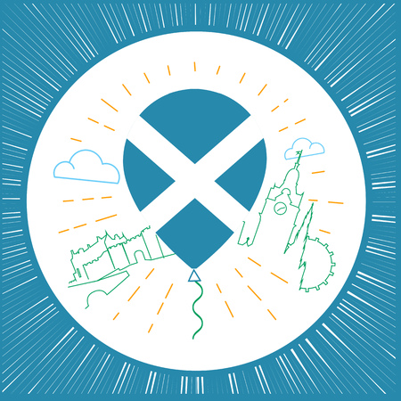 independency: Icon, logo for travel to Scotland, in the form of an air balloon with the flag of Scotland and showplace, architecture in the line style