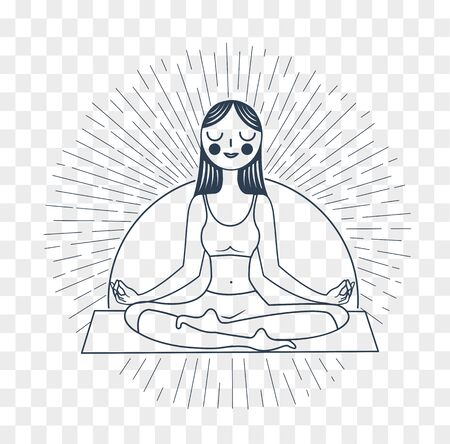 flexibility: Icon meditation yoga in the form of an icon of a girl yoga on a background of rays . Icon in the linear style