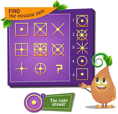 Visual Game for children summer . Task: find the missing item shape Ilustracja
